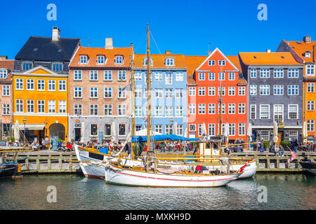 Nyhavn the waterfront canal in Copenhagen, Denmark. - Stock Photo