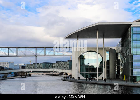 BERLIN, GERMANY - DEC 26, 2017: The 'Marie Elisabeth Lueders Haus' building and the Spree river in Berlin. The modern building is part of the new parl - Stock Photo