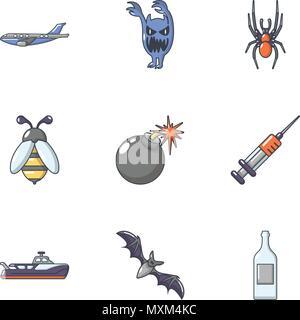 Mortal danger icons set, cartoon style - Stock Photo