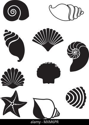 Vector illustration of sea shells set. Seashell silhouettes set isolated on white background - Stock Photo