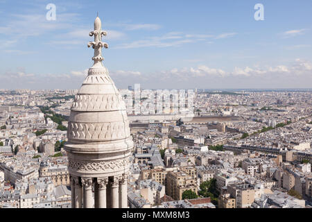 View from the top of Basilique du Sacre Coeur in Montmartre, Paris France, Europe. - Stock Photo