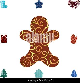 Gingerbread Man pattern silhouette christmas holiday - Stock Photo
