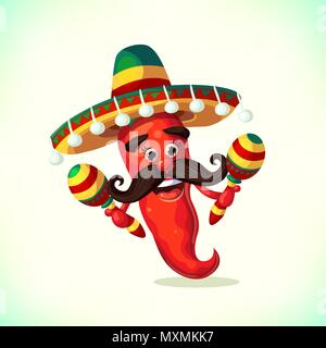 Red pepper wearing sombrero and with maracas. Cartoon Mexican Mascot Chili Pepper in with Mustache. Symbols of mexican holiday Cinco de Mayo. vector illustration - Stock Photo