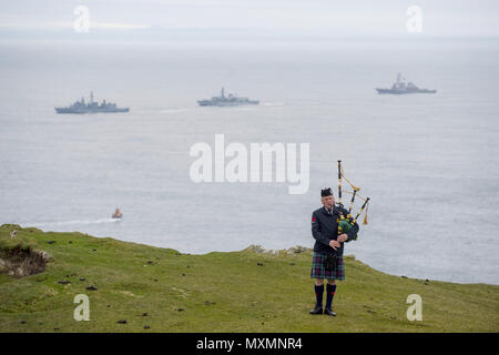 Service for the rededication of the American Monument at Mull of Oa in the Mull of Oa on Islay.  Featuring: Atmosphere Where: Islay, United Kingdom When: 04 May 2018 Credit: Euan Cherry/WENN - Stock Photo