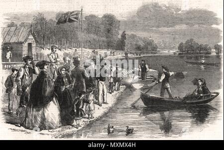 Pleasure-boats on the ornamental water in Regent's Park. London 1861. The Illustrated London News - Stock Photo