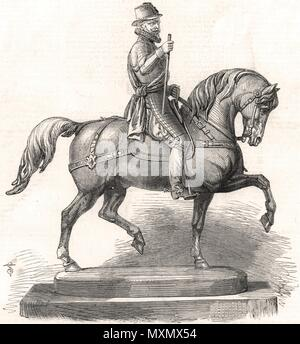 William the Taciturn statuette, Baden-Baden steeplechase prize 1861. The Illustrated London News - Stock Photo