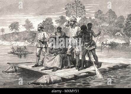 Ashanti War Ashanti ambassadors crossing the Pra. Ghana 1874. The Illustrated London News - Stock Photo
