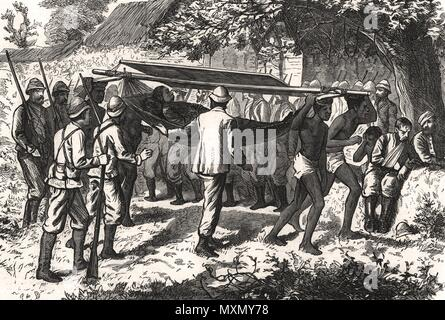 Ashanti War Wounded officer of the 42nd carried by hammock-men. Ghana 1874. The Illustrated London News - Stock Photo