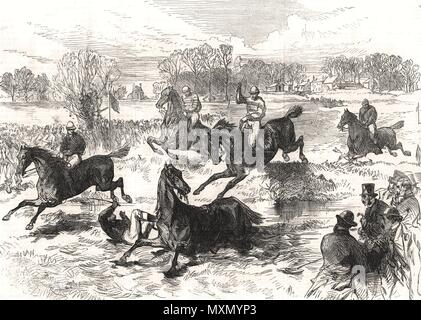 The Windsor Steeplechase. Berkshire 1869. The Illustrated London News - Stock Photo