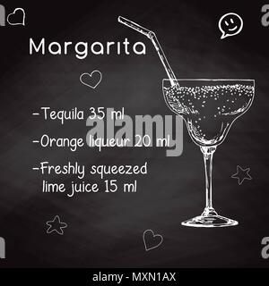 Simple recipe for an alcoholic cocktail Margarita. Drawing chalk on a blackboard. Vector illustration of a sketch style. - Stock Photo
