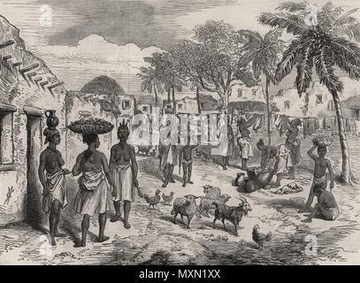 The Gold Coast (Ghana)  Street scene, Cape Castle. Ghana 1874. The Illustrated London News - Stock Photo