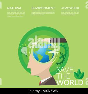 save the world concept for World Environment Day campaign poster. people with idea for environmentally friendly world - Stock Photo