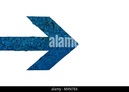 Blue arrow direction sign with polished stone texture with imperfections and cracks and isolated on a seamless white background. - Stock Photo