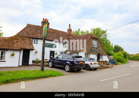 A smartly dressed woman leaves The Kentish Rifleman a pub in Dunks Green near Hadlow in Kent. UK - Stock Photo