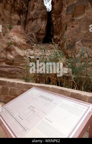ancient nabataean dam in Siq against flood, information plate for paved road, Petra Archaeological Park, Petra, Jordan, Asia Minor / Petra | Damm gege - Stock Photo