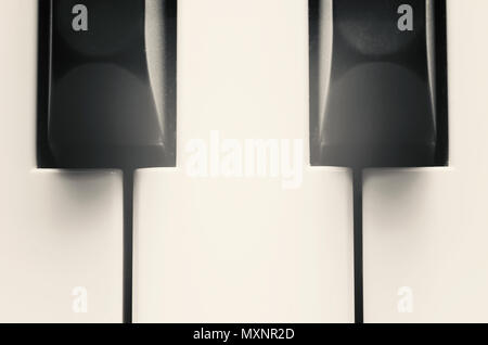 Closeup view of black and white piano keys. Stock Photo