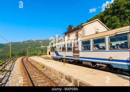 Train at Vivario Station in Corsica, France. Corsica has three main lines and is operated by the Chemins de Fer de la Corse (Corsican Railway). - Stock Photo