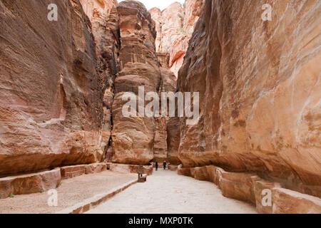 ancient watersupply in canyon, ancient pavestones, Siq of Petra, canyon of Petra Archaeological Park, Petra, Jordan, Asia Minor / Petra | antike Wasse - Stock Photo