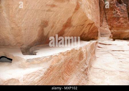 ancient watersupply in canyon, ancient pavestones, Siq of Petra, canyon of Petra Archaeological Park, Petra, Jordan, Asia Minor / Petra | restaurierte - Stock Photo