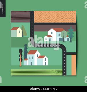 Simple things - top view, satellite shoot of a out-of-town street with detached country houses, trees, fields and plowed fields around, and asphalt bl - Stock Photo