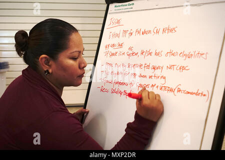 Jeanne Sablan transcribes possible solutions to concerns brought up by delegates at the Army Family Action Plan conference held at the Nehelani, Nov. 15. - Stock Photo