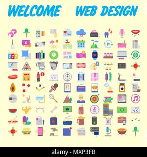 Set of 100 universal modern thin line icons for web and mobile. Vector illustration - Stock Photo
