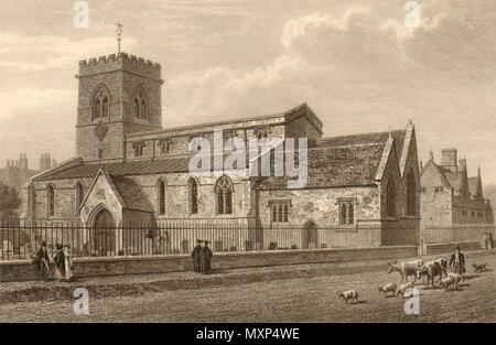 St Giles's Church, Oxford, by John Le Keux 1837 old antique print picture - Stock Photo