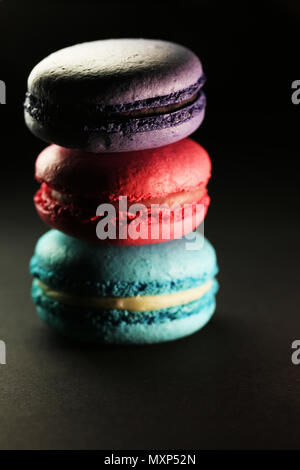 Beautiful colorful macaroons food photo close up - Stock Photo