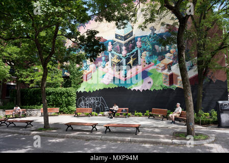 Public art mural and open space, Plateau area of Montreal City, Quebec Province, Canada. - Stock Photo