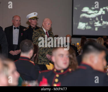 U.S. Marine Corps Gen. Alfred Gray (ret.), 29th Commandant of the Marine Corp, watches the birthday message of the 37th Commandant of the Marine Corp Gen. Robert Neller at Marine Corps Intelligence Activity's 241st Marine Corps birthday ball ceremony at the Fredericksburg Expo and Conference Center in Fredericksburg, Va., Nov. 10, 2016. The Continental Marines were established on this date in 1775, and the United States Marine Corps celebrates every year with a traditional birthday ball and cake-cutting ceremony. (U.S. Marine Corps photo by Cpl. Jacqueline A. Garcia) - Stock Photo