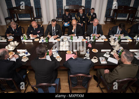 Secretary of Defense Ash Carter hosts a Bilateral meeting with the Minister of Defence for the Republic of France, His Excellency Jean-Yves Le Drian at the Daughters of the American Revolution, Washington, D.C., Nov. 28, 2016. (DoD photo by U.S. Army Sgt. Amber I. Smith) - Stock Photo