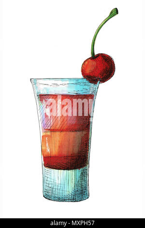 Sketch cocktail isolated on white background. Illustration drawn by markers. - Stock Photo