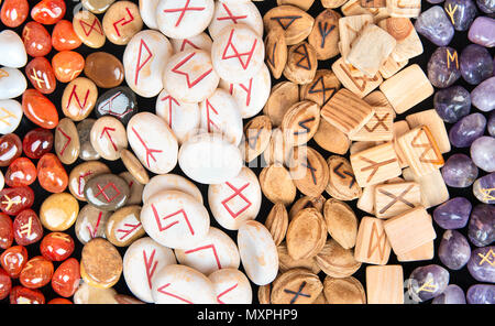 Background magic runes made of different materials - Stock Photo