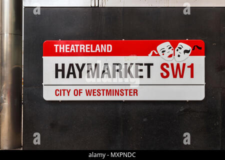 Street sign for Haymarket, a famous road in Theatreland, City of Westminster, London SW1, UK, heart of the cultural entertainment district - Stock Photo