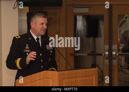 U.S. Army Maj. Gen. Robert Dyess, Army Capability Command deputy commander, addresses attendees of the Survivor Outreach Services' Thanks for Giving Potluck at Joint Base Langley-Eustis, Va., Nov. 17, 2016. During his speech, Dyess talked about the importance of family, mentors and friends. (U.S. Air Force photo by Airman 1st Class Derek Seifert) - Stock Photo