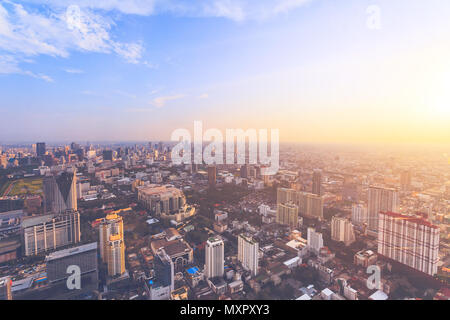 The stunning panoramic view of Bangkok, the capital and most populous city of the kingdom of Thailand. Amazing cityscape the modern skyscrapers, streets and public places. Aerial shot. - Stock Photo