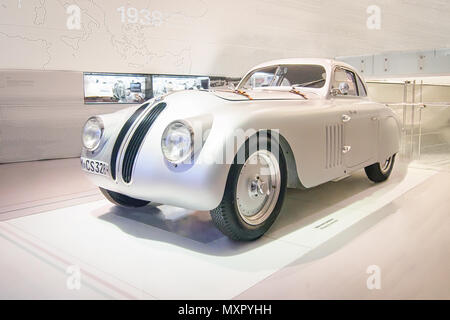 MUNICH, GERMANY-APRIL 8, 2017: 1939 BMW 328 Touring Coupe in the BMW Museum. - Stock Photo