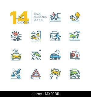 Road accidents - set of line design style icons - Stock Photo