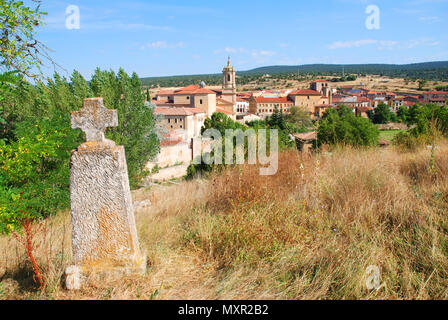 Overview. Santo Domingo de Silos, Burgos province, Castilla Leon, Spain. - Stock Photo