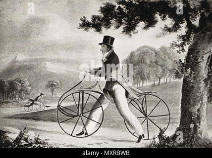The Pedestrian Hobbyhorse, Circa 1819 - Stock Photo
