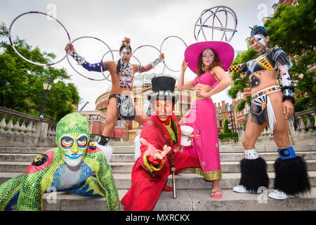 Cast members from Cirque du Soleil outside the Albert Hall in London, to announce the return of the production TOTEM to the venue in 2018. - Stock Photo
