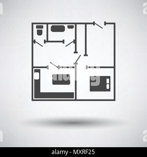 Icon of apartment plan on gray background, round shadow. Vector illustration. - Stock Photo