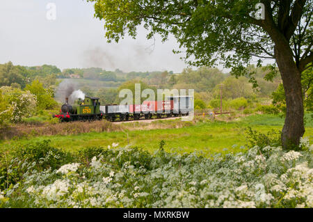Steam engine with freight train on the Kent and East Sussex Railway - Stock Photo