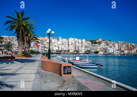 View of the picturesque city of Sitia,the eastern city of Crete close to the  palm forest of Vai.The specific point has been chosen as ' good kiss spo - Stock Photo
