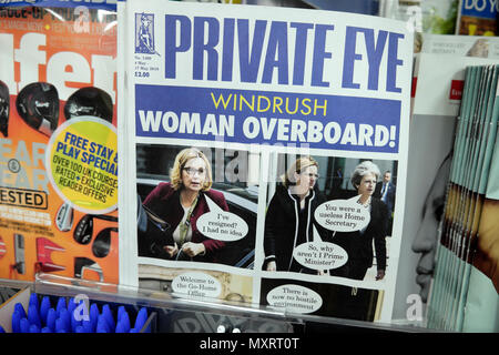 The May 2018  Private Eye magazine cover Windrush scandal headline Amber Rudd 'Woman Overboard'  on magazines shelf at newsagent in London England UK - Stock Photo