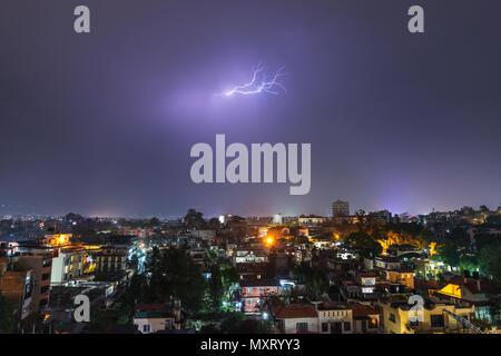 Night thunderstorm over Patan in the Kathmandu Valley, Nepal - Stock Photo
