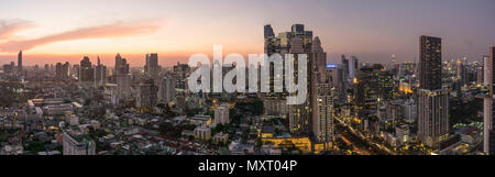 Skyline, view from Zoom Bar, Anantara Sathorn, Bangkok, Thailand, - Stock Photo