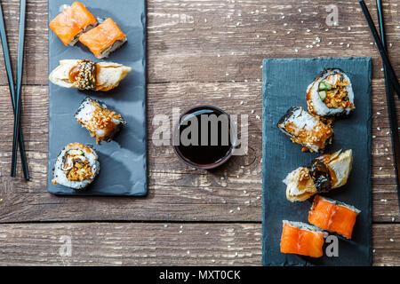 Japanese seafood sushi , rolls - Stock Photo