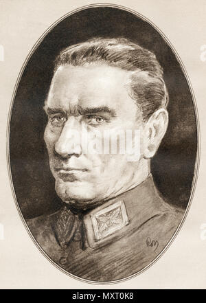 Mustafa Kemal Atatürk, 1881 - 1938. Turkish army officer, revolutionary, founder of the Republic of Turkey, and its first President.   Illustration by Gordon Ross, American artist and illustrator (1873-1946), from Living Biographies of Famous Men. - Stock Photo