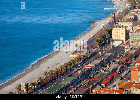 France, Cote D'Azur, Nice city, beach and Promenade des Anglais along Mediterranean Sea